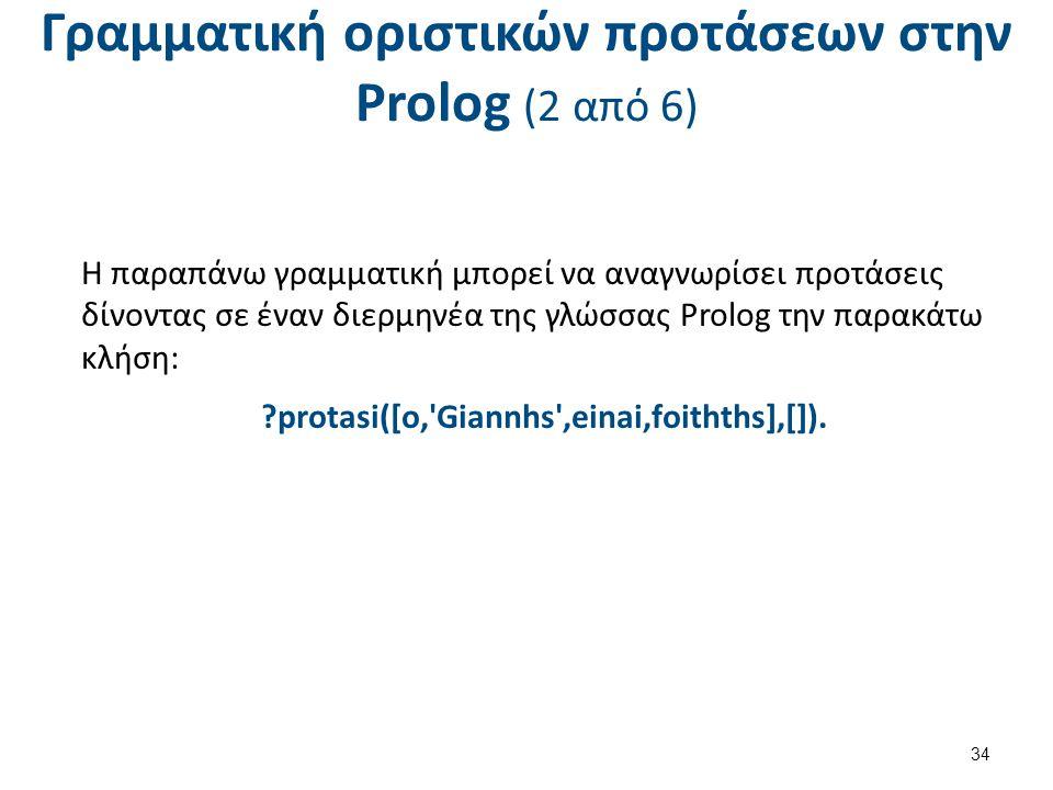 Γραμματική οριστικών προτάσεων στην Prolog (3 από 6)