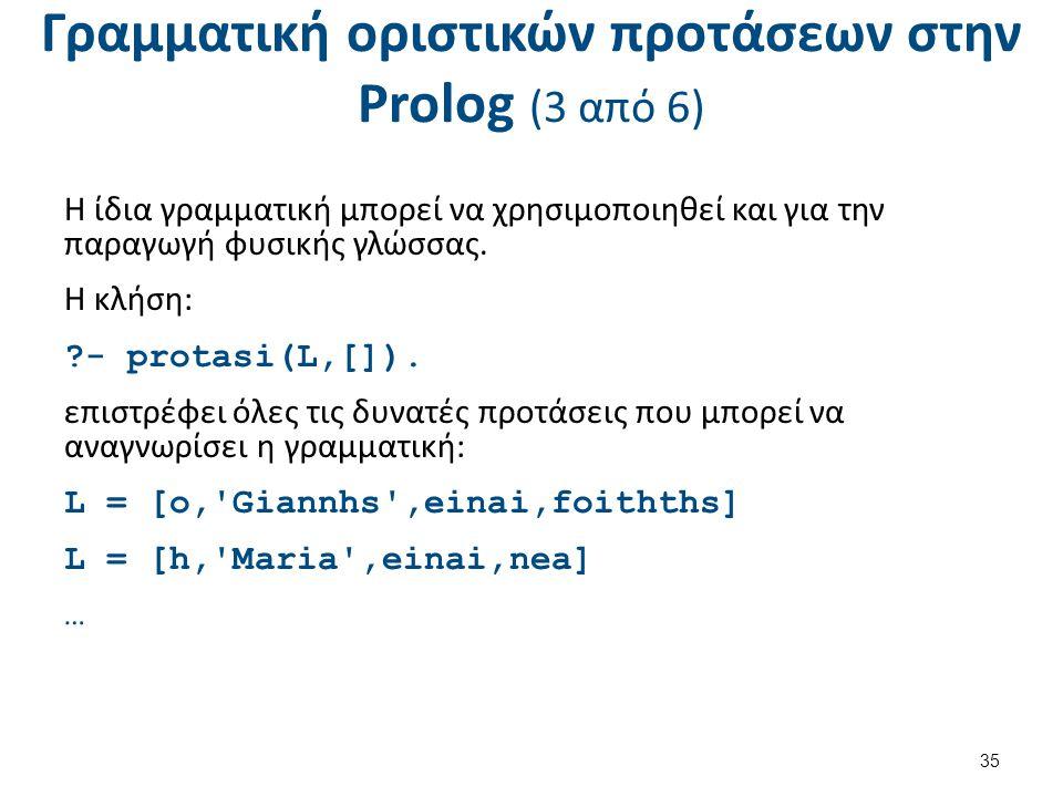 Γραμματική οριστικών προτάσεων στην Prolog (4 από 6)
