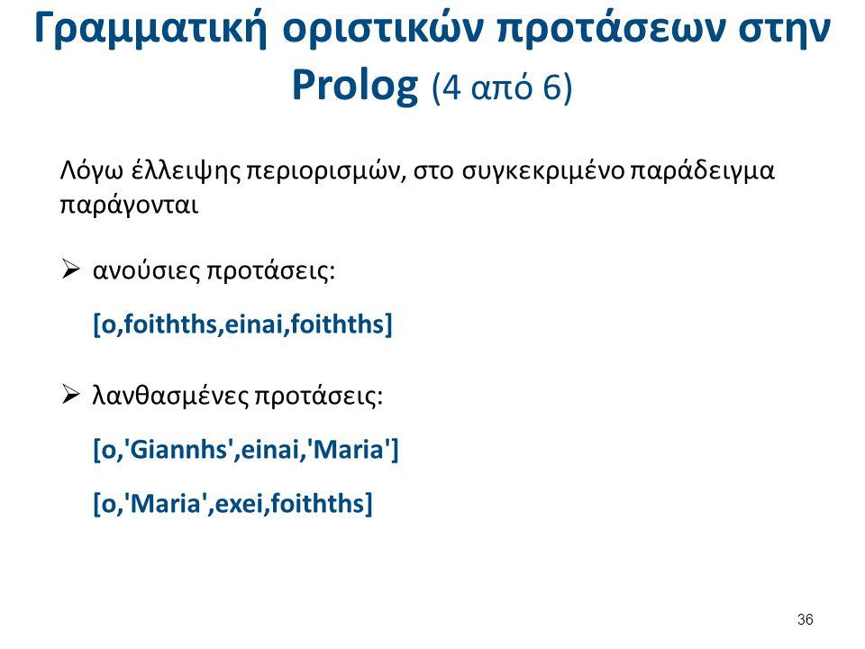 Γραμματική οριστικών προτάσεων στην Prolog (5 από 6)