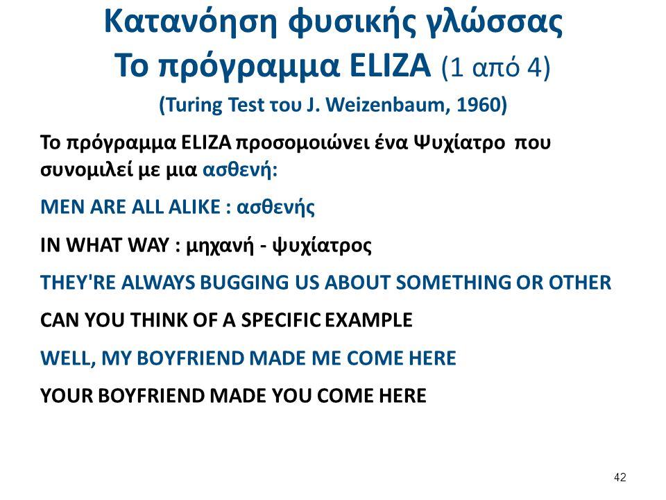 Κατανόηση φυσικής γλώσσας Το πρόγραμμα ΕLΙΖΑ (2 από 4)