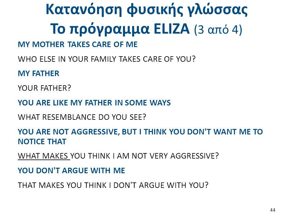 Κατανόηση φυσικής γλώσσας Το πρόγραμμα ΕLΙΖΑ (4 από 4)