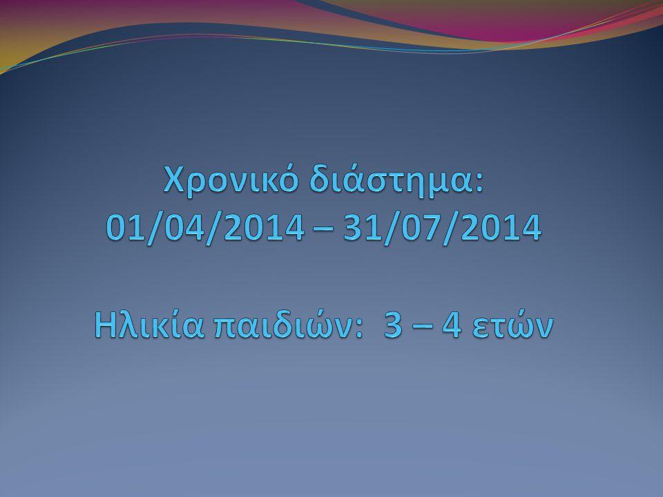 Χρονικό διάστημα: 01/04/2014 – 31/07/2014 Ηλικία παιδιών: 3 – 4 ετών