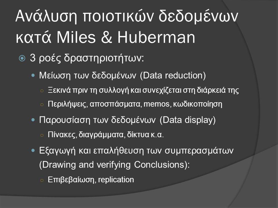 Ανάλυση ποιοτικών δεδομένων κατά Miles & Huberman