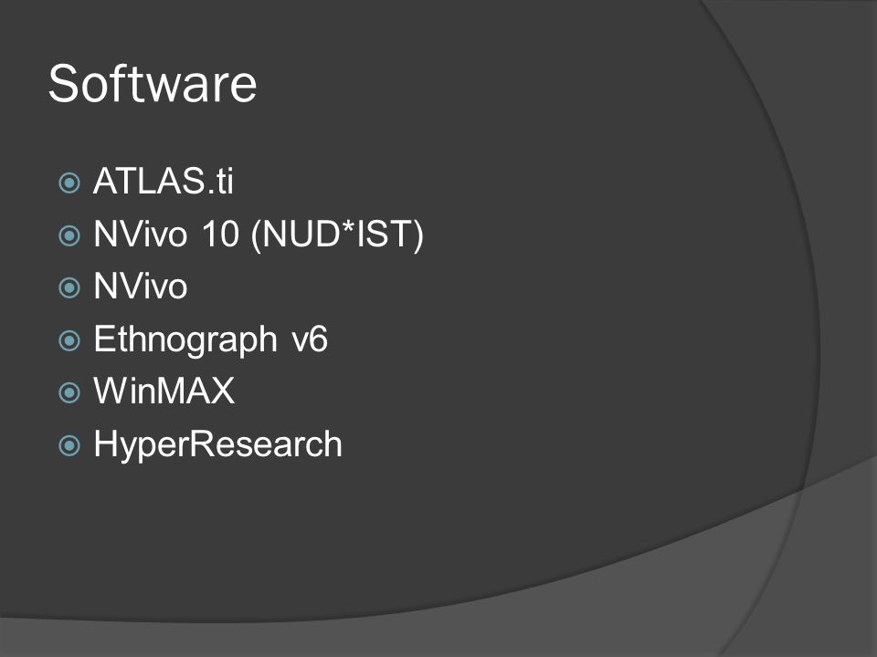 Software ATLAS.ti NVivo 10 (NUD*IST) NVivo Ethnograph v6 WinMAX