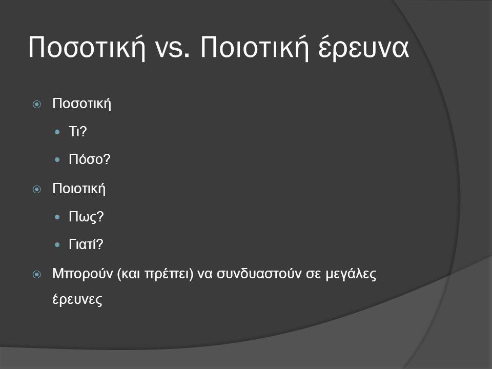 Ποσοτική vs. Ποιοτική έρευνα