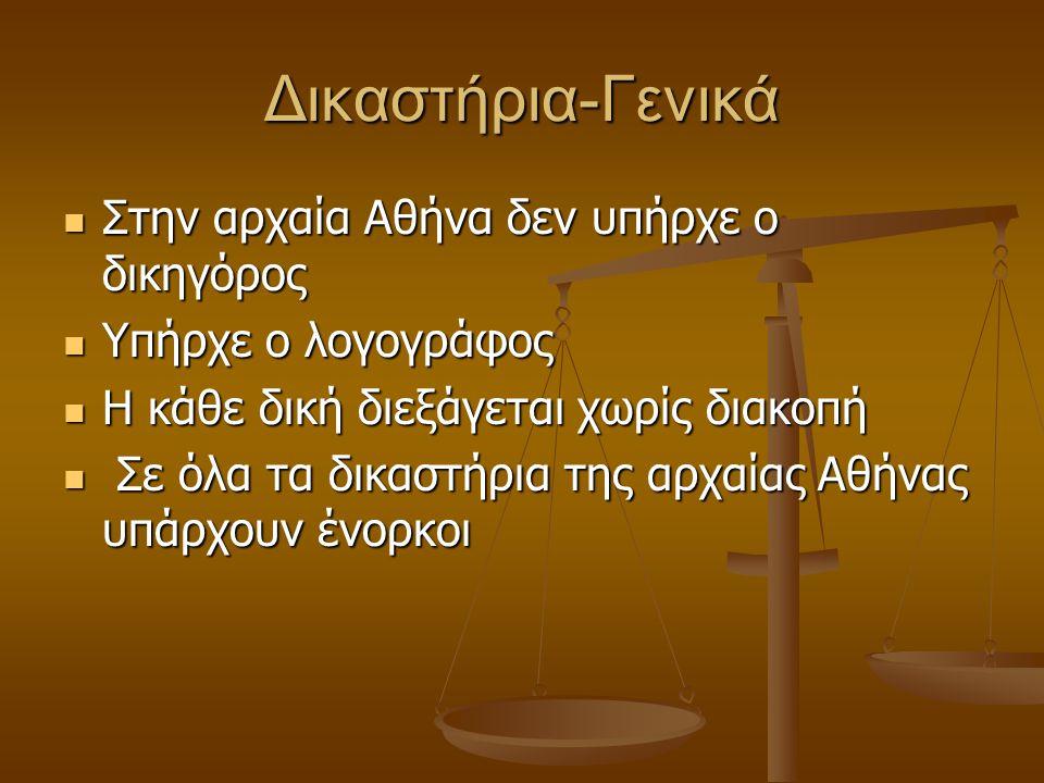Δικαστήρια-Γενικά Στην αρχαία Αθήνα δεν υπήρχε ο δικηγόρος