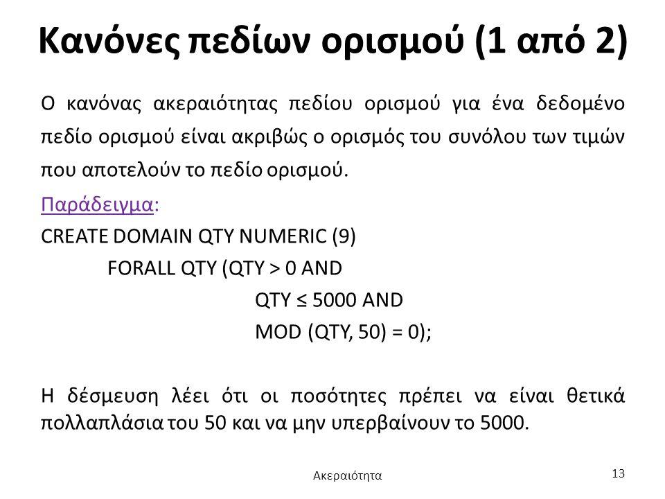 Κανόνες πεδίων ορισμού (1 από 2)