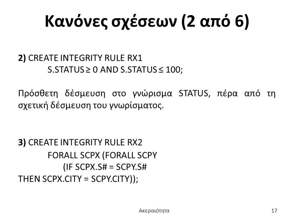 Κανόνες σχέσεων (2 από 6) 2) CREATE INTEGRITY RULE RX1
