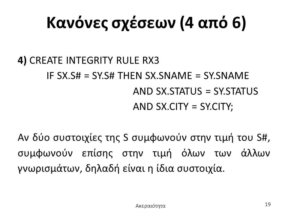 Κανόνες σχέσεων (4 από 6) 4) CREATE INTEGRITY RULE RX3