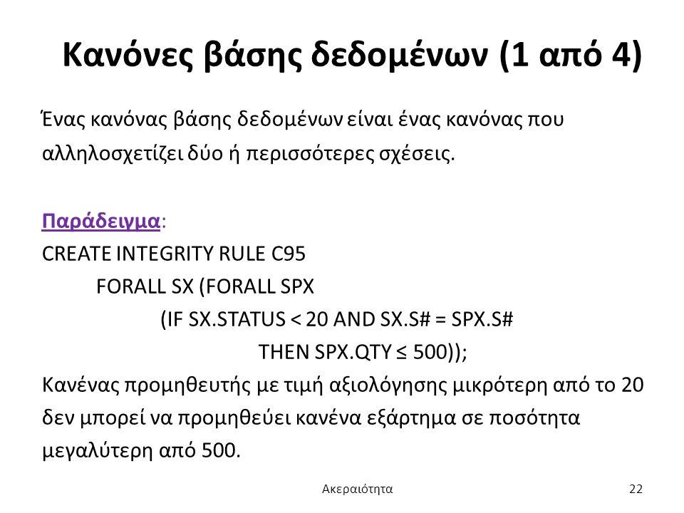 Κανόνες βάσης δεδομένων (1 από 4)