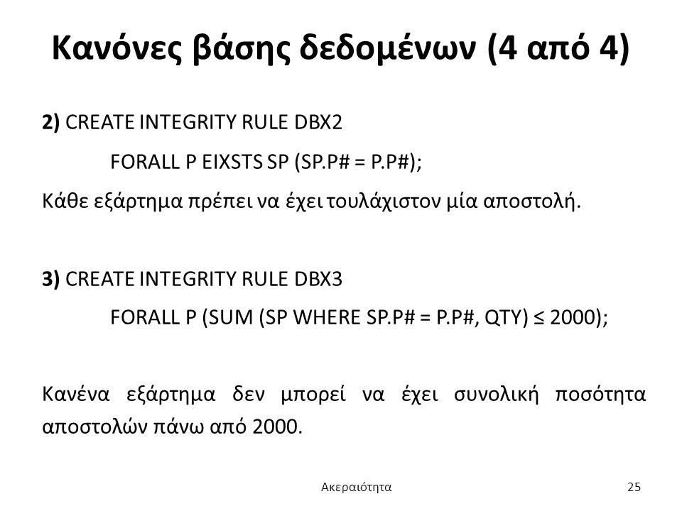 Κανόνες βάσης δεδομένων (4 από 4)