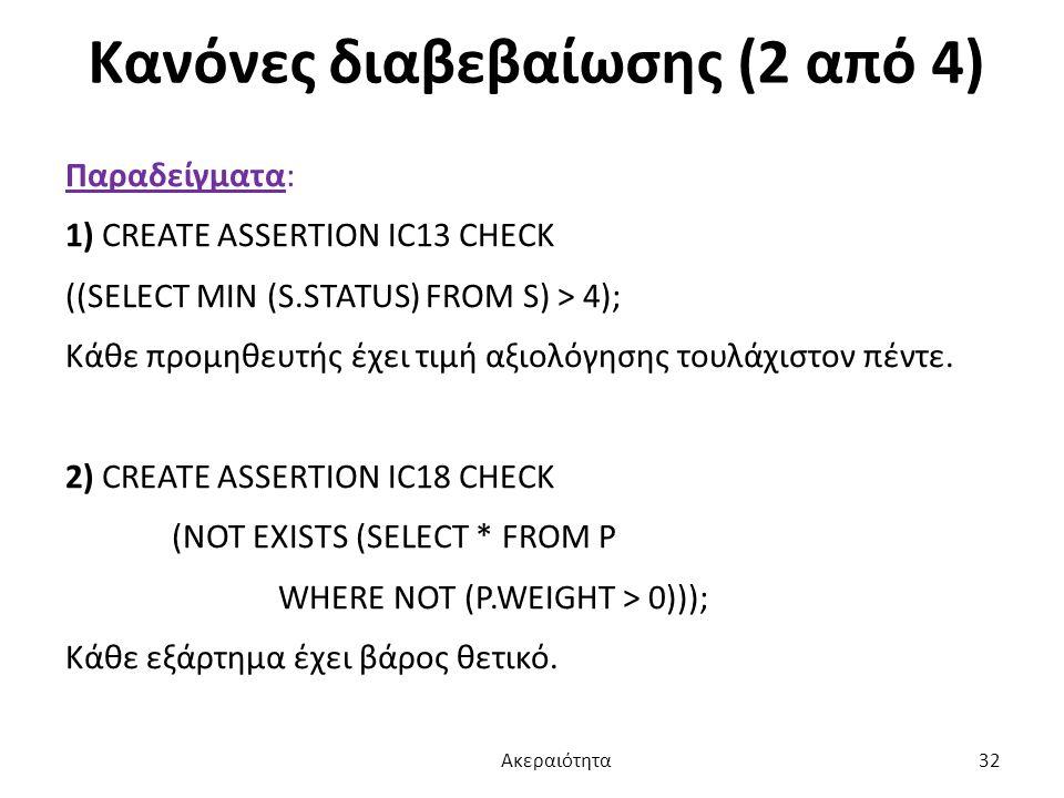Κανόνες διαβεβαίωσης (2 από 4)