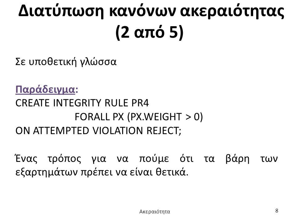 Διατύπωση κανόνων ακεραιότητας (2 από 5)