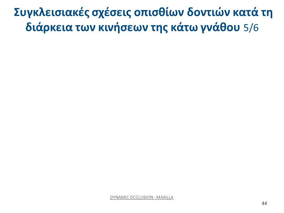 Συγκλεισιακές σχέσεις οπισθίων δοντιών κατά τη διάρκεια των κινήσεων της κάτω γνάθου 6/6