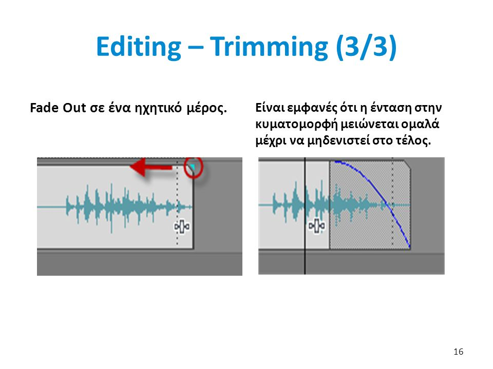 Editing – Trimming (3/3) Fade Out σε ένα ηχητικό μέρος.