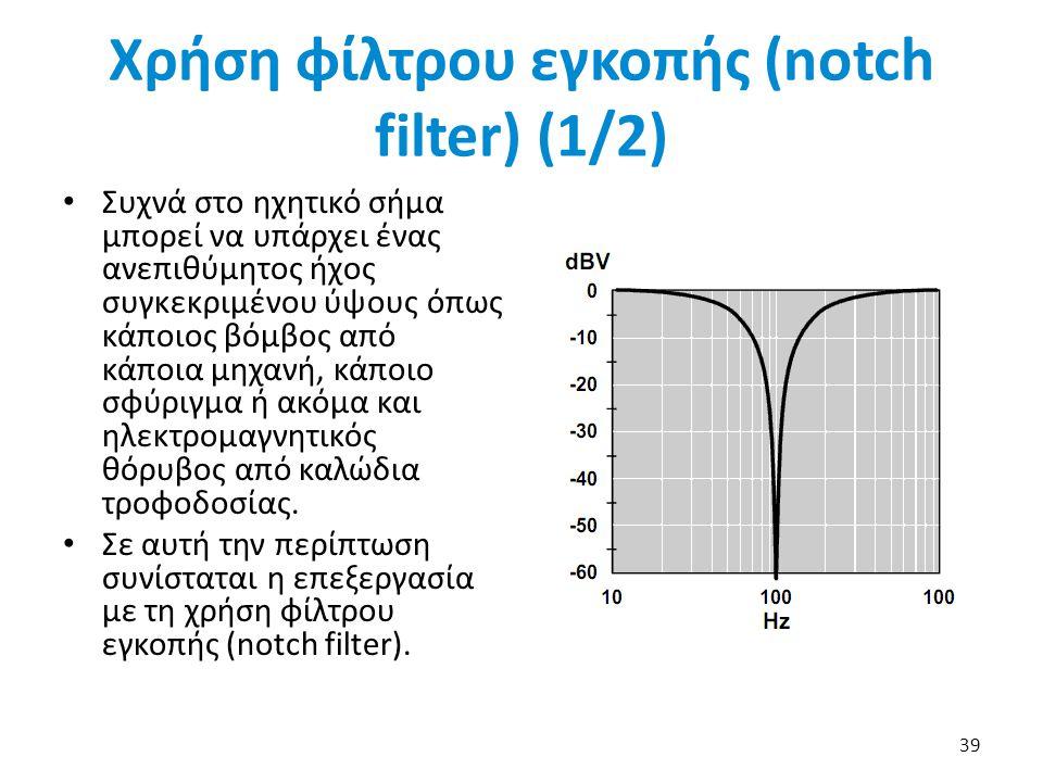 Χρήση φίλτρου εγκοπής (notch filter) (1/2)