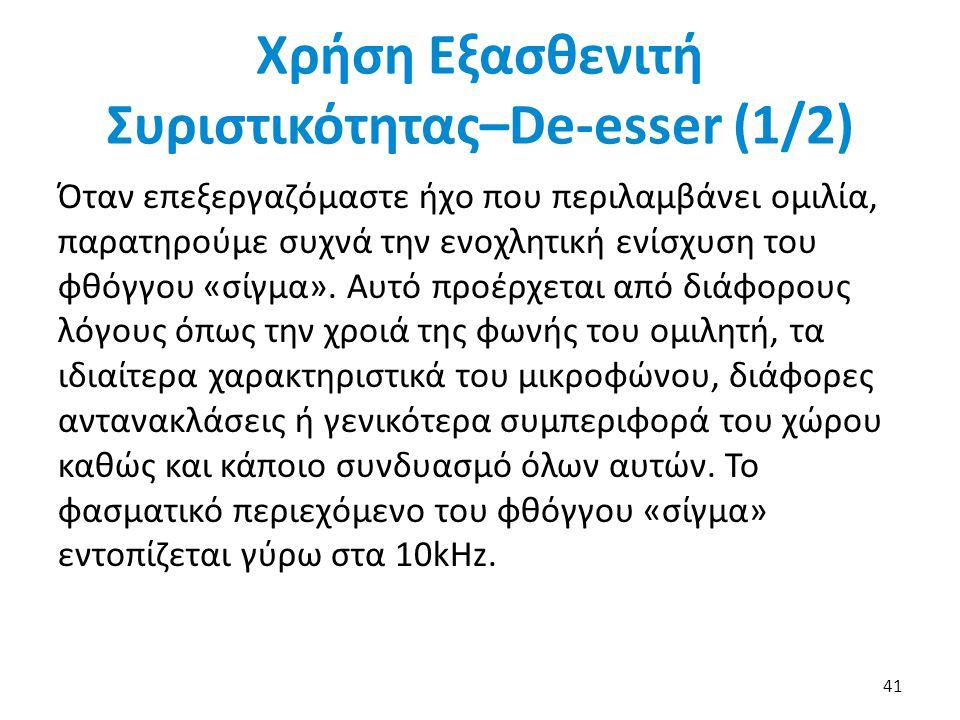 Χρήση Εξασθενιτή Συριστικότητας–De-esser (1/2)