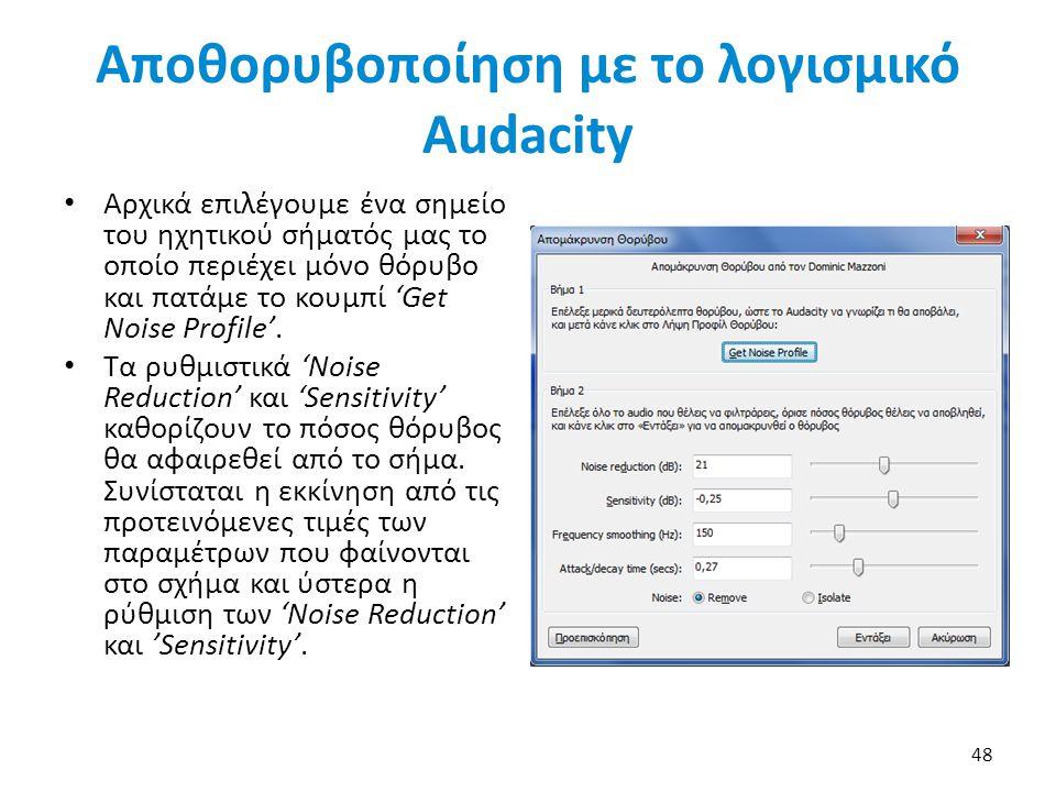 Αποθορυβοποίηση με το λογισμικό Audacity