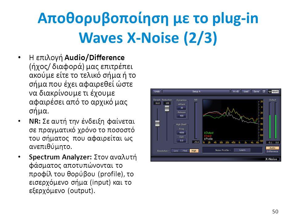 Αποθορυβοποίηση με το plug-in Waves X-Noise (2/3)