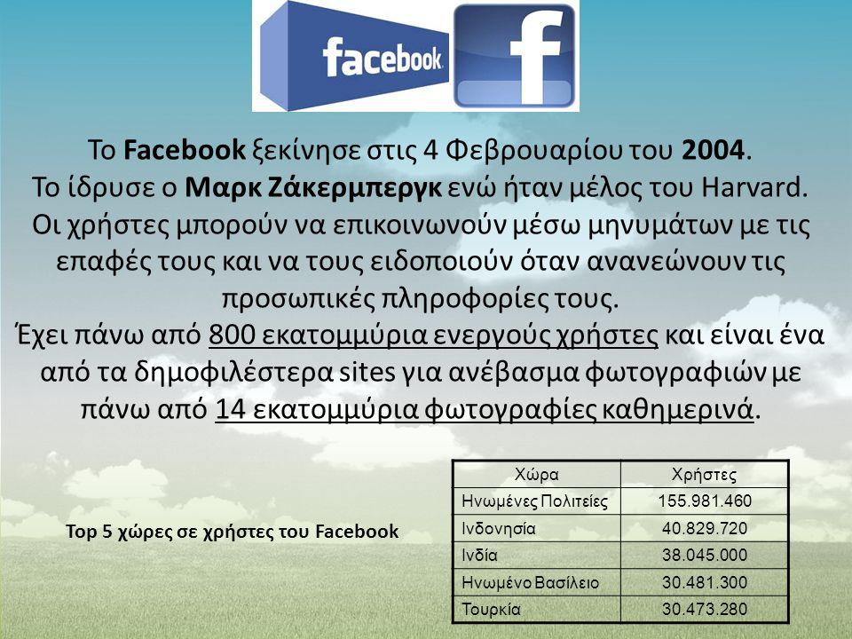 Το Facebook ξεκίνησε στις 4 Φεβρουαρίου του 2004.