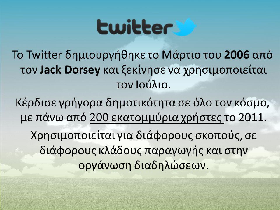 Το Twitter δημιουργήθηκε το Μάρτιο του 2006 από τον Jack Dorsey και ξεκίνησε να χρησιμοποιείται τον Ιούλιο.