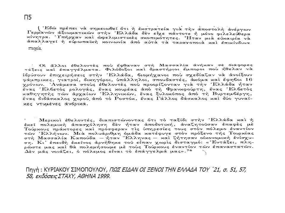 Π5 Πηγή : ΚΥΡΙΑΚΟΥ ΣΙΜΟΠΟΥΛΟΥ, ΠΩΣ ΕΙΔΑΝ ΟΙ ΞΕΝΟΙ ΤΗΝ ΕΛΛΑΔΑ ΤΟΥ ΄21, σ.