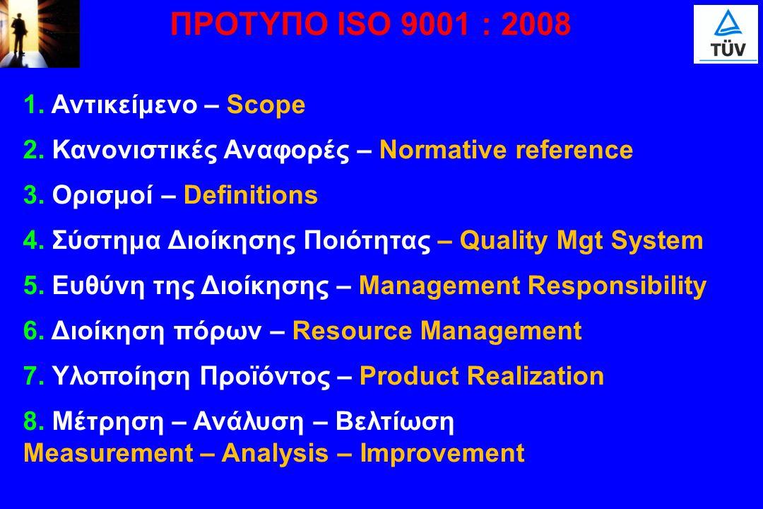 ΠΡΟΤΥΠΟ ISO 9001 : 2008 1. Αντικείμενο – Scope