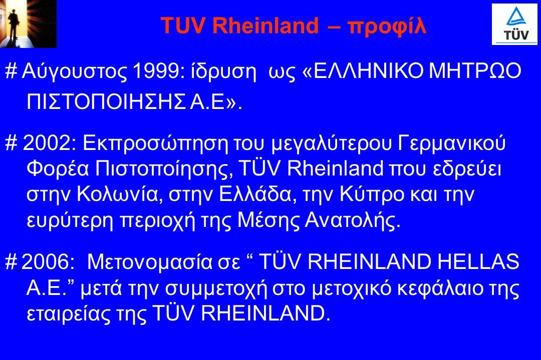 TUV Rheinland – προφίλ # Αύγουστος 1999: ίδρυση ως «ΕΛΛΗΝΙΚΟ ΜΗΤΡΩΟ ΠΙΣΤΟΠΟΙΗΣΗΣ Α.Ε».