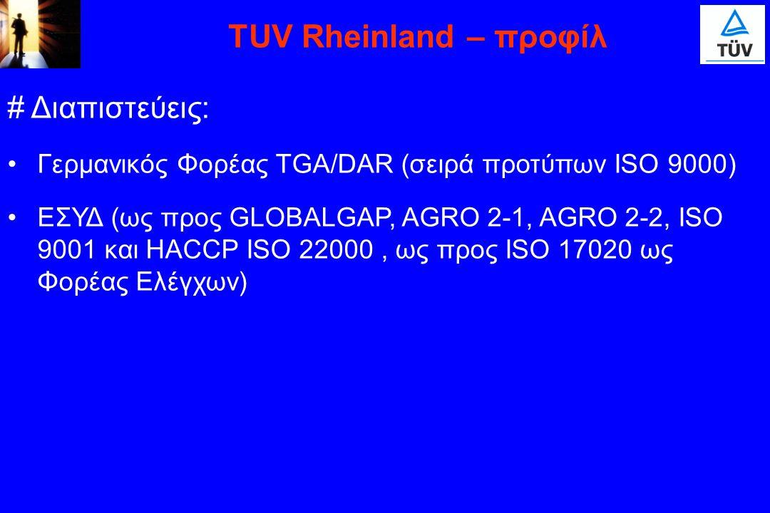 TUV Rheinland – προφίλ # Διαπιστεύεις: