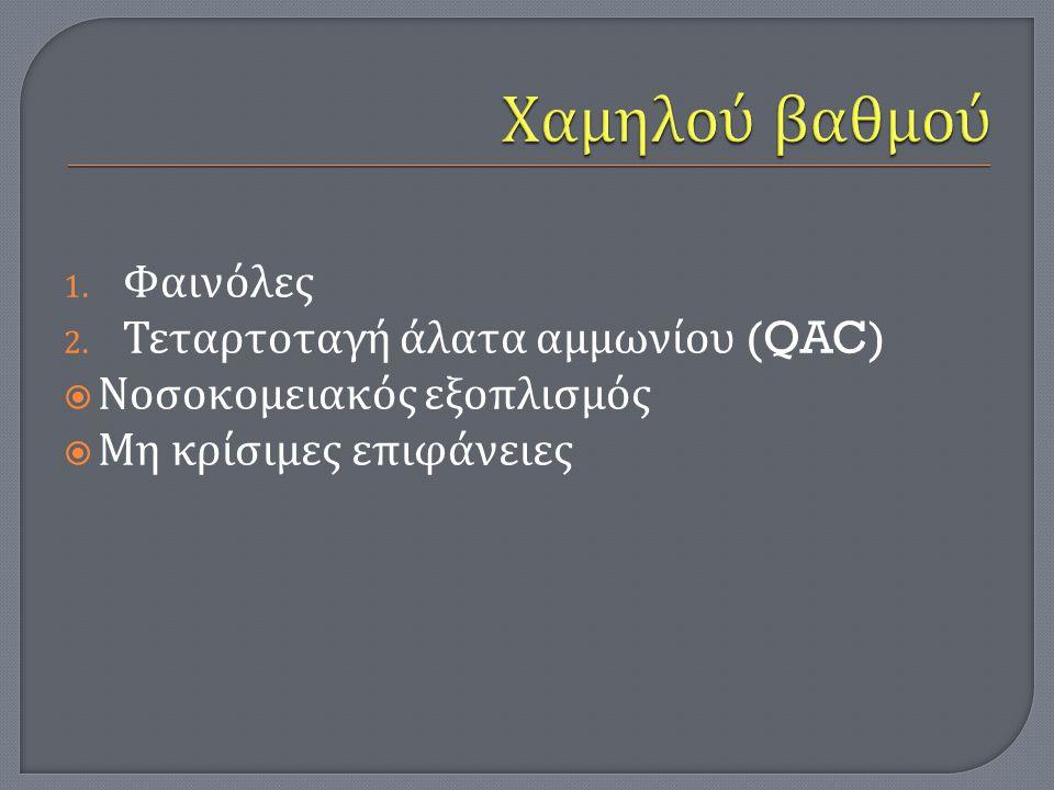 Χαμηλού βαθμού Φαινόλες Τεταρτοταγή άλατα αμμωνίου (QAC)