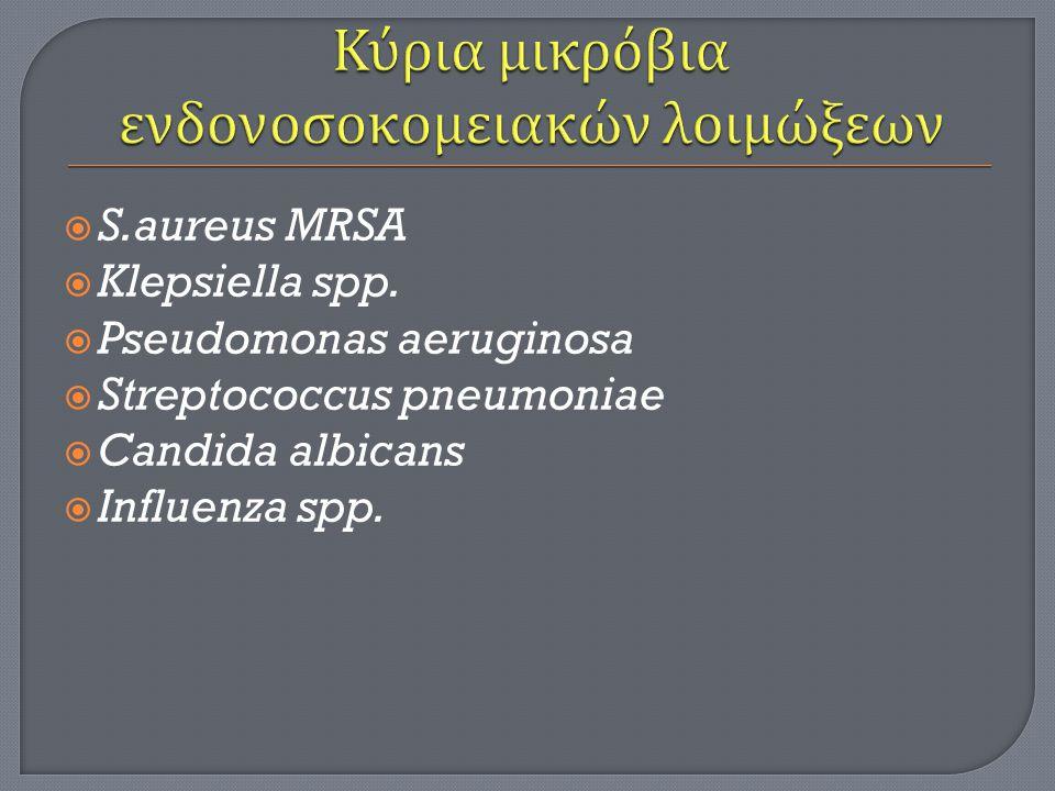 Κύρια μικρόβια ενδονοσοκομειακών λοιμώξεων