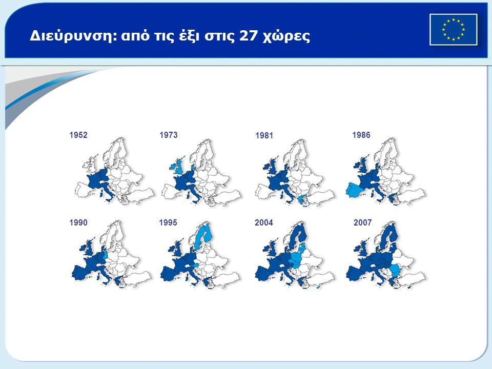 Διεύρυνση: από τις έξι στις 27 χώρες