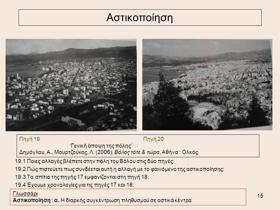 Αστικοποίηση Πηγή 19 Πηγή 20 'Γενική άποψη της πόλης'
