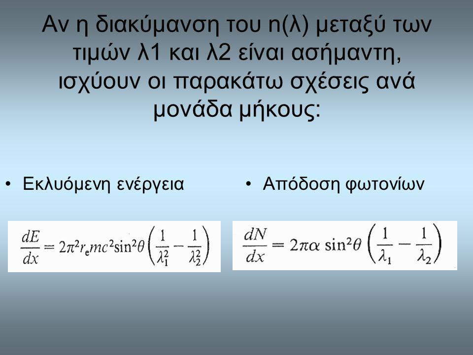 Αν η διακύμανση του n(λ) μεταξύ των τιμών λ1 και λ2 είναι ασήμαντη, ισχύουν οι παρακάτω σχέσεις ανά μονάδα μήκους: