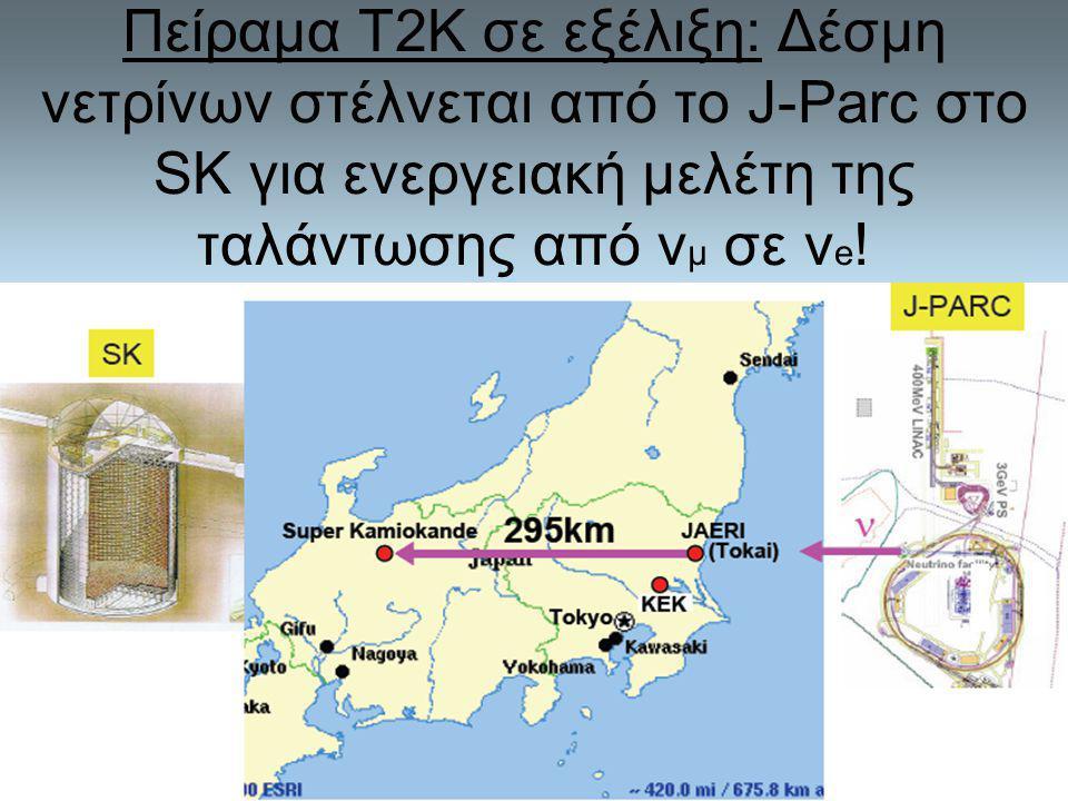 Πείραμα Τ2Κ σε εξέλιξη: Δέσμη νετρίνων στέλνεται από το J-Parc στο SK για ενεργειακή μελέτη της ταλάντωσης από vμ σε ve!