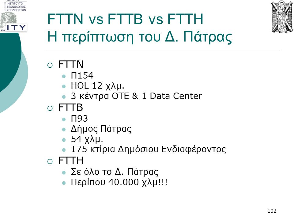 FTTN vs FTTB vs FTTH Η περίπτωση του Δ. Πάτρας
