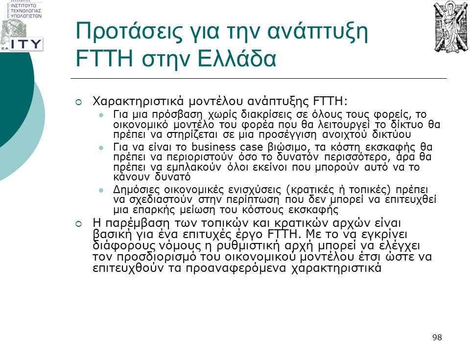 Προτάσεις για την ανάπτυξη FTTH στην Ελλάδα