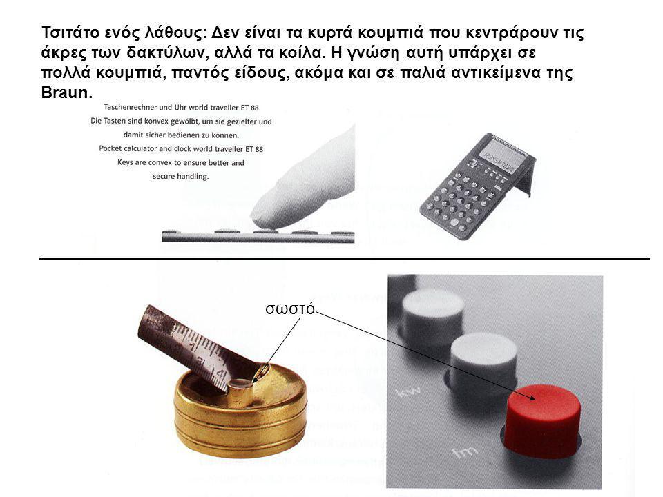Τσιτάτο ενός λάθους: Δεν είναι τα κυρτά κουμπιά που κεντράρουν τις άκρες των δακτύλων, αλλά τα κοίλα. Η γνώση αυτή υπάρχει σε πολλά κουμπιά, παντός είδους, ακόμα και σε παλιά αντικείμενα της Braun.