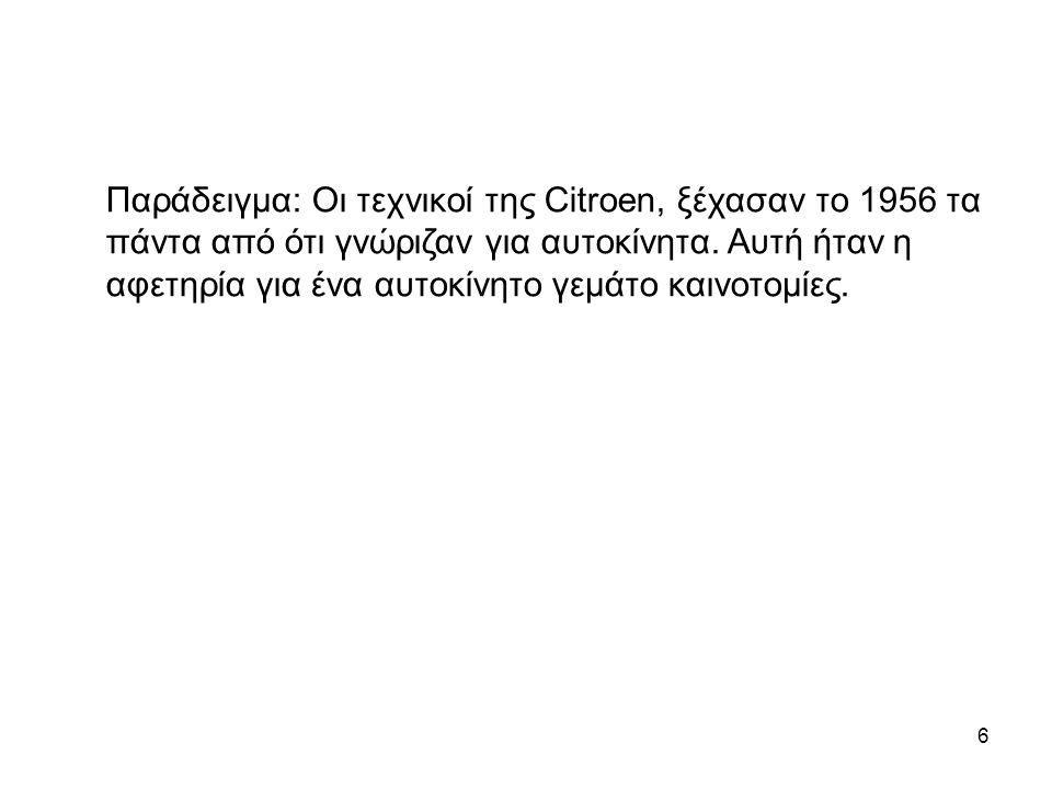 Παράδειγμα: Οι τεχνικοί της Citroen, ξέχασαν το 1956 τα πάντα από ότι γνώριζαν για αυτοκίνητα.