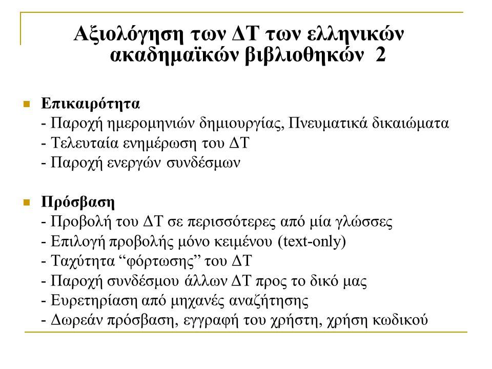 Αξιολόγηση των ΔΤ των ελληνικών ακαδημαϊκών βιβλιοθηκών 2