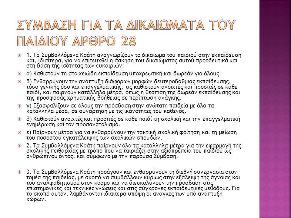 ΣΥΜΒΑΣΗ ΓΙΑ ΤΑ ΔΙΚΑΙΩΜΑΤΑ ΤΟΥ ΠΑΙΔΙΟΥ Αρθρο 28