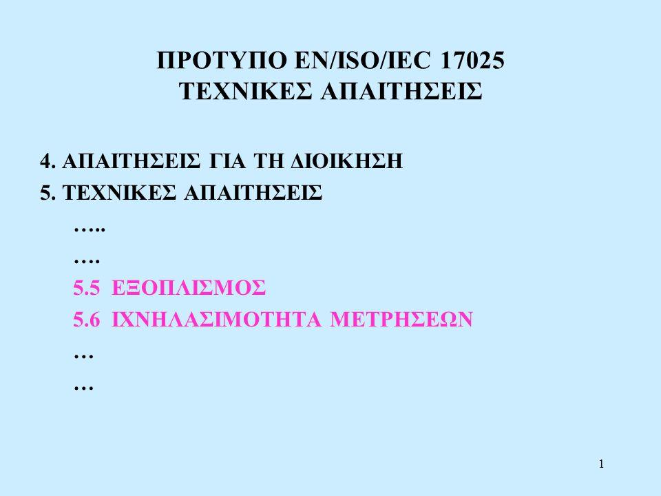 ΠΡΟΤΥΠΟ EN/ISO/IEC 17025 ΤΕΧΝΙΚΕΣ ΑΠΑΙΤΗΣΕΙΣ