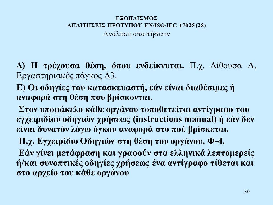 Π.χ. Εγχειρίδιο Οδηγιών στη θέση του οργάνου, Φ-4.