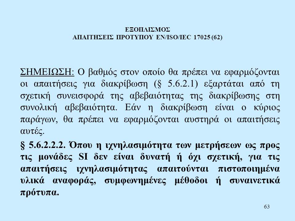 ΕΞΟΠΛΙΣΜΟΣ ΑΠΑΙΤΗΣΕΙΣ ΠΡΟΤΥΠΟΥ EN/ISO/IEC 17025 (62)