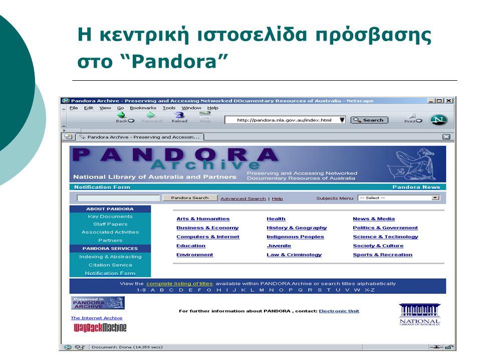 Η κεντρική ιστοσελίδα πρόσβασης στο Pandora