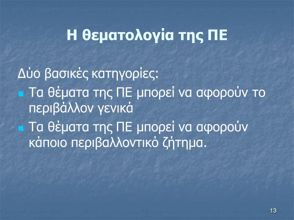 Η θεματολογία της ΠΕ Δύο βασικές κατηγορίες:
