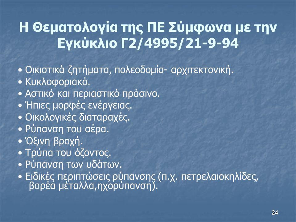 Η Θεματολογία της ΠΕ Σύμφωνα με την Εγκύκλιο Γ2/4995/21-9-94