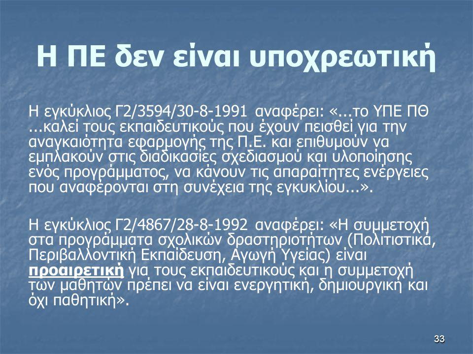 Η ΠΕ δεν είναι υποχρεωτική