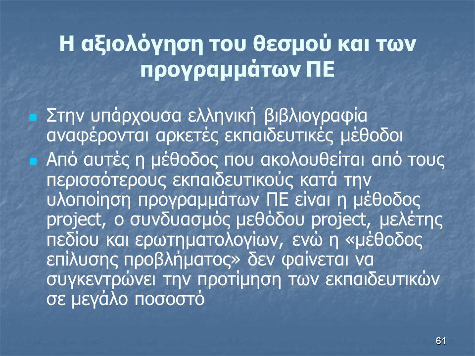 H αξιολόγηση του θεσμού και των προγραμμάτων ΠΕ