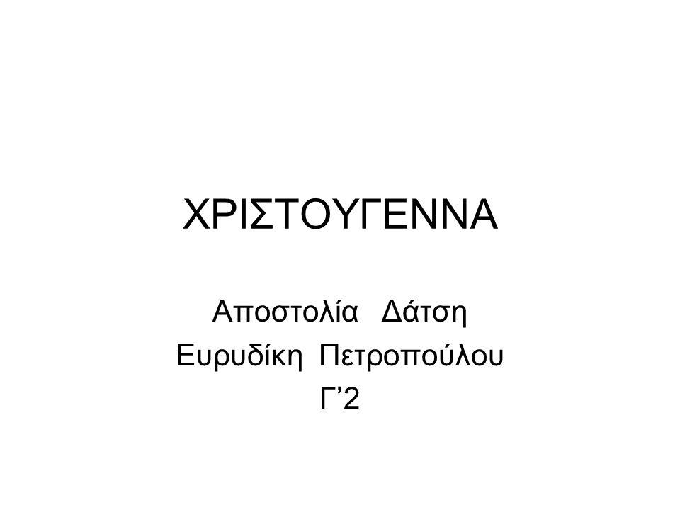 Αποστολία Δάτση Ευρυδίκη Πετροπούλου Γ'2